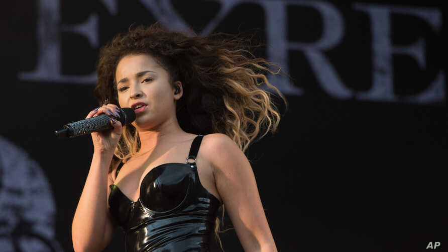 British singer Ella Eyre performs on stage during V Festival 2015 at Hylands Park in Chelmsford, Essex, England, Aug. 23, 2015.
