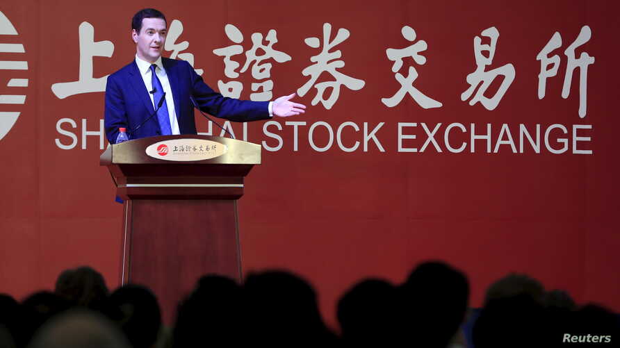 Britain's Chancellor of the Exchequer George Osborne delivers a speech at the Shanghai Stock Exchange in Shanghai, China, Sept. 22, 2015.