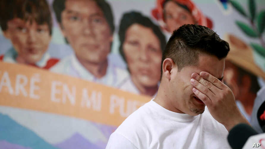 FILE - Christian, from Honduras, recounts his separation from his child at the border during a news conference at the Annunciation House,in El Paso, Texas, June 25, 2018.