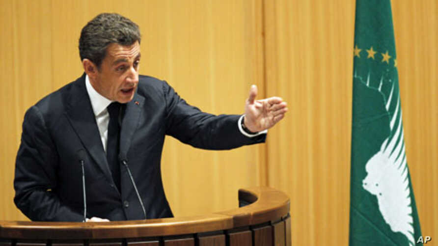 France's President Nicolas Sarkozy addresses the 16th African Union Summit in Ethiopia's capital Addis Ababa, January 30, 2011
