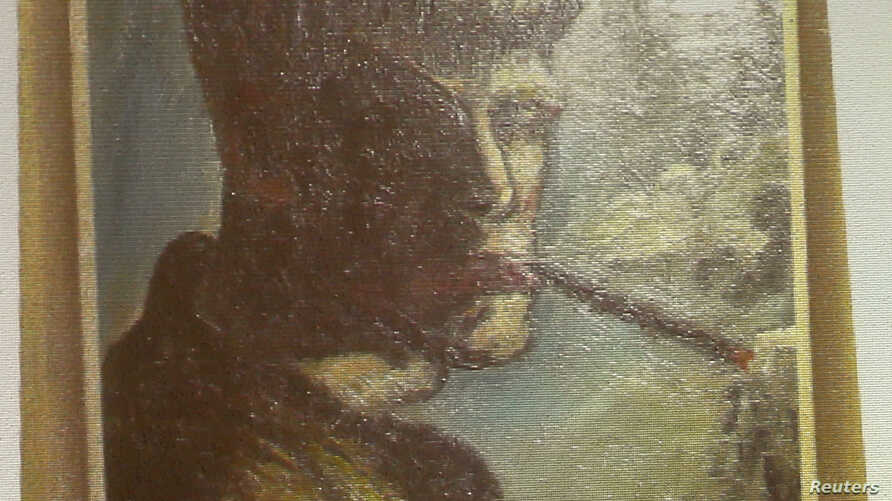 A newly discovered self-portrait of the German painter Otto Dix is beamed onto a wall during a news conference about works of art found in a Munich apartment in 2011.