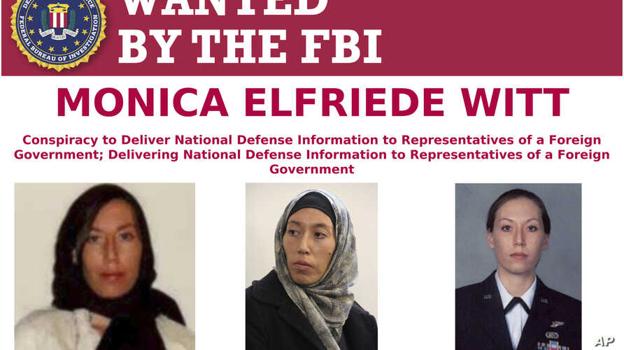 This image provided by the FBI shows part of the wanted poster for Monica Elfriede Witt. The former U.S. Air Force counterintelligence specialist who defected to Iran despite warnings from the FBI has been charged with revealing classified informatio