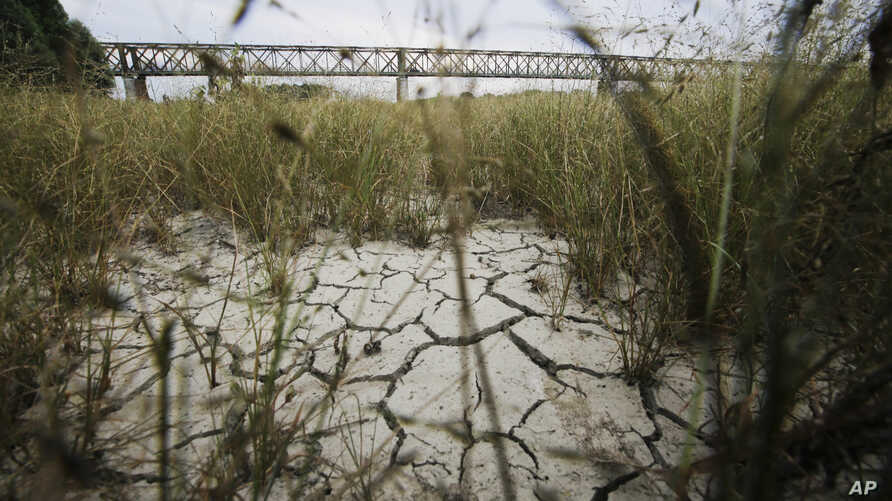 A view of the Po riverbed under Ponte della Becca (Becca bridge) shows the effects of the drought, near Pavia, Italy, July 24, 2017.