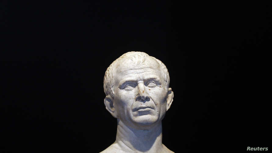 A life-size bust of Julius Caesar is seen at new buildings of the Department of the underwater and submarine archaeological  (DRASSM) in Marseille, January 22, 2009. The bust of Cesar, dated 49-46 BC, was discovered last year as part of underwater ar
