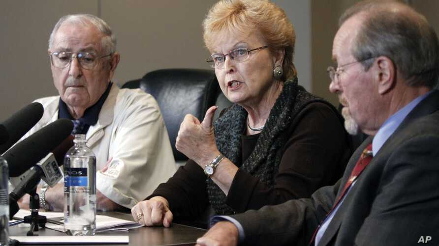 FILE - From left, Former Oregon Governors Vic Atiyeh, Barbara Roberts and Ted Kulongoski speak at a news conference in Portland, Oregon.