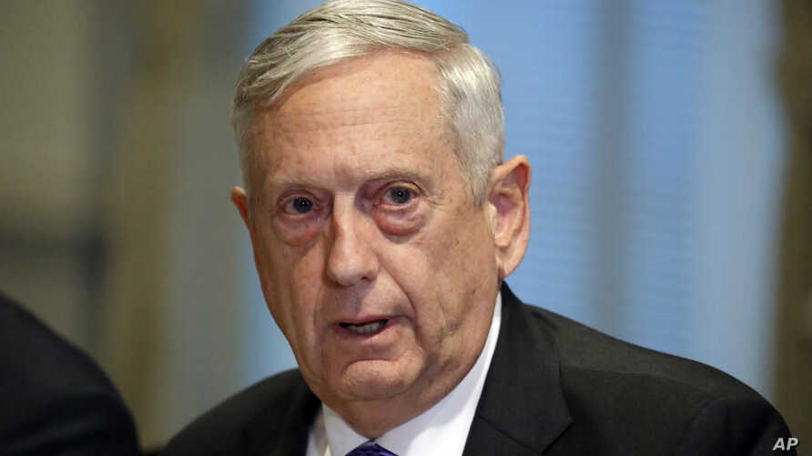Defense Secretary Jim Mattis answers a question about the ambush of U.S. troops in Niger at the Pentagon, Oct. 19, 2017, in Washington.