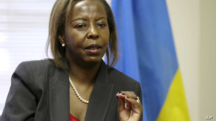 Rwandan Foreign Minister Louise Mushikiwabo gestures during an interview with The Associated Press at the Rwandan Embassy in Washington, (File photo).