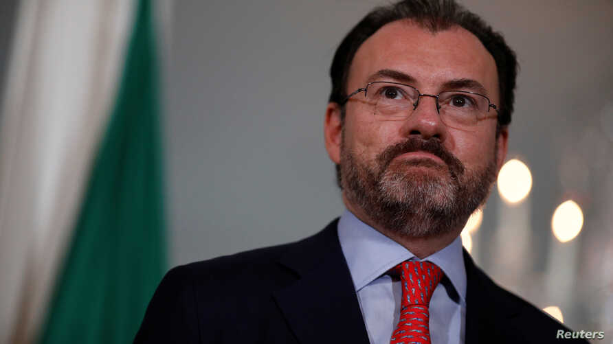 Mexican Foreign Secretary Luis Videgaray speaks with reporters during a photo opportunity with U.S. Secretary of State Rex Tillerson (unseen) at the State Department in Washington, Aug. 30, 2017.