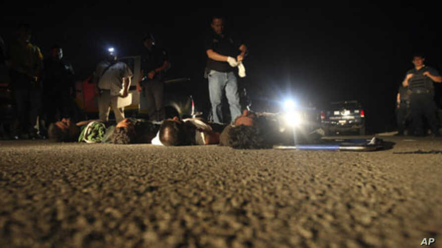 Police and forensic workers stand near the bodies of five dead men after they were left on a highway on the outskirts of Morelia, June 8, 2011