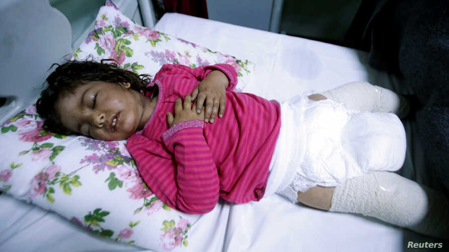 Dima Nadm Hamid, 3, is being treated for possible exposure to chemical weapons agents in a hospital west of Mosul, Iraq, March 4, 2017.