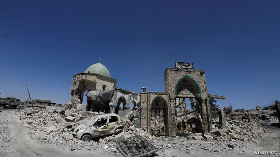 The destroyed Grand al-Nuri Mosque is seen in the Old City of Mosul, Iraq August 7, 2017.