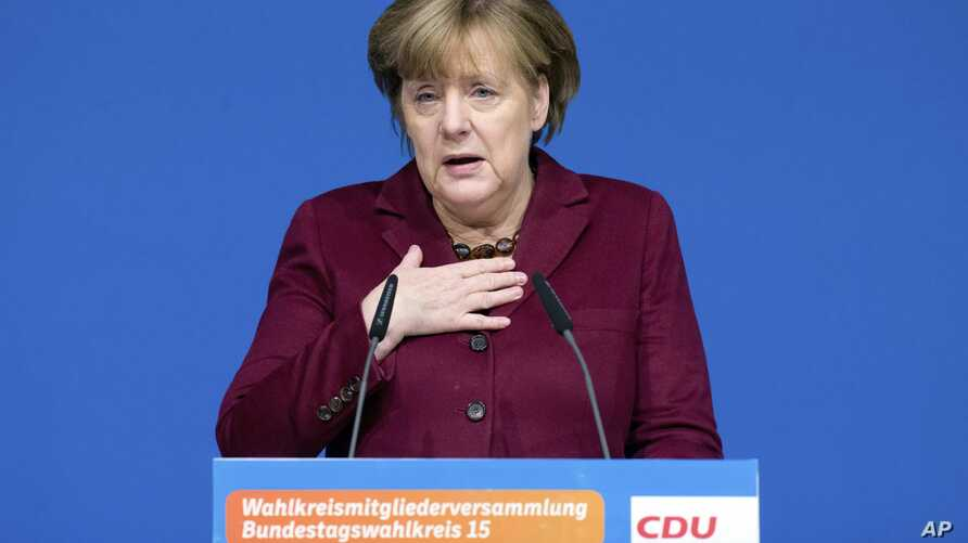 German Chancellor Angela Merkel delivers a speech at a local meeting of her Christian Democrats in Grimmen, northern Germany, Jan. 28, 2017.