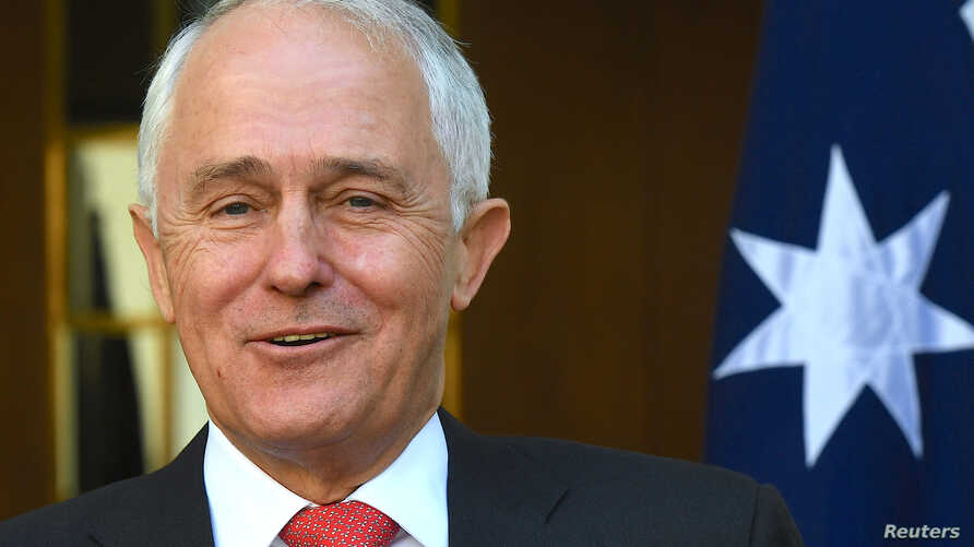 Australian Prime Minister Malcolm Turnbull reacts as he speaks during a media conference regarding the outcome of the Marriage Equality survey in Canberra, Australia, Nov. 15, 2017.