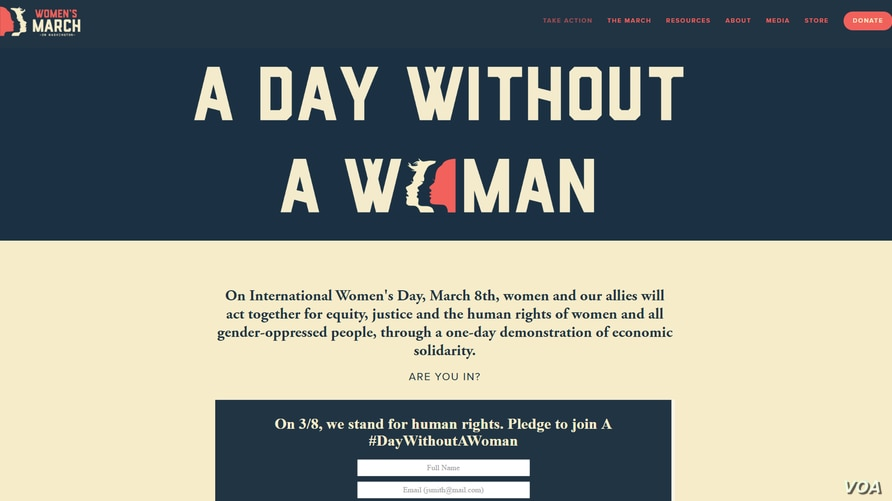 "This screengrab from the WomensMarch.com website shows a page calling for a ""Day Without a Woman"" on March 8, 2017"