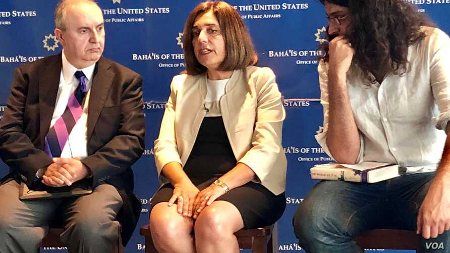 Diane Ala'i, a Baha'i International Community representative to the UN, speaks at a Washington Newseum event about the situation of Baha'is in Iran and the Middle East, July 26, 2018.