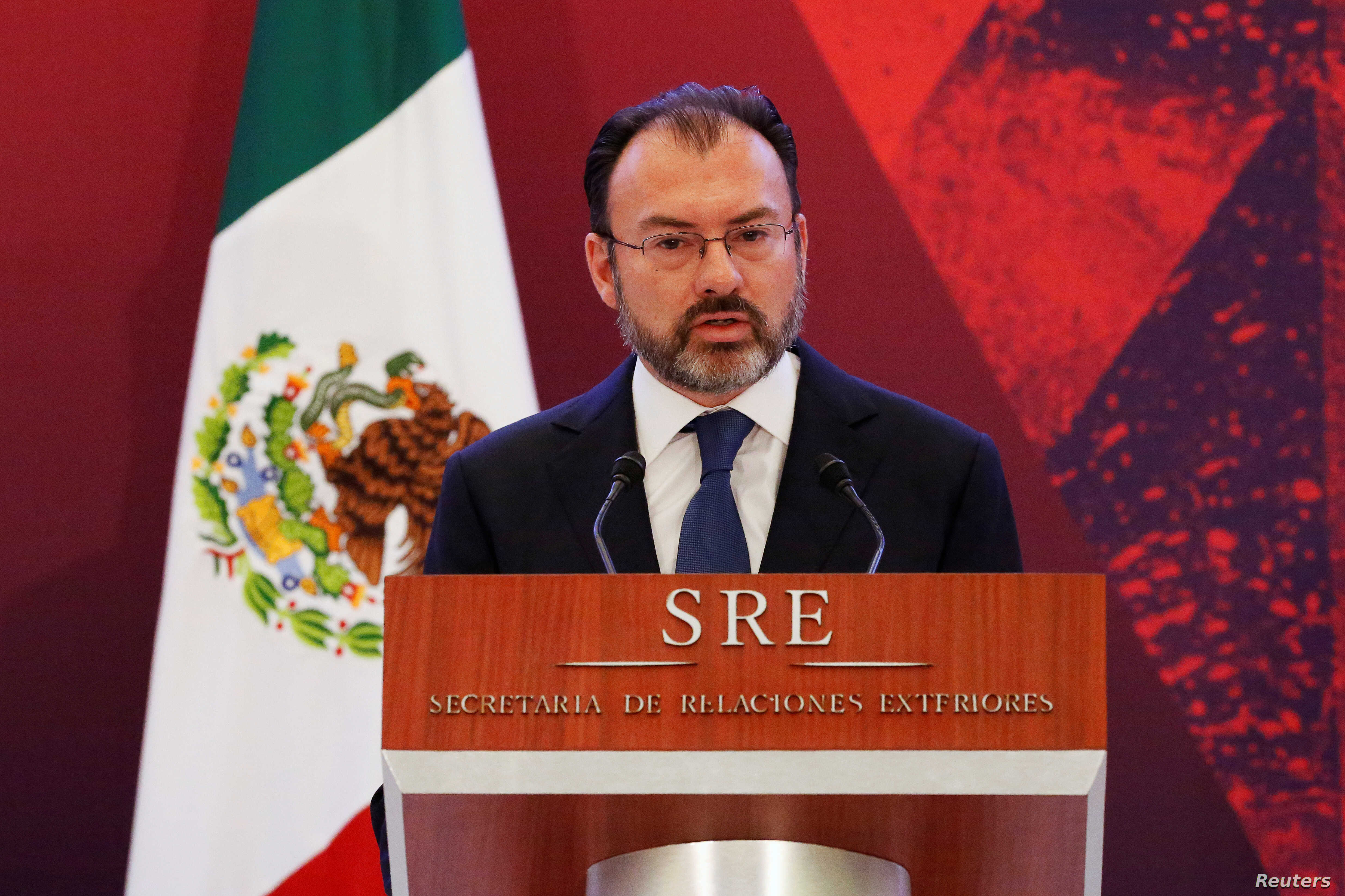 Mexico's Foreign Minister Luis Videgaray delivers a speech during a meeting with diplomatic corps in Mexico City, Jan. 9, 2017.