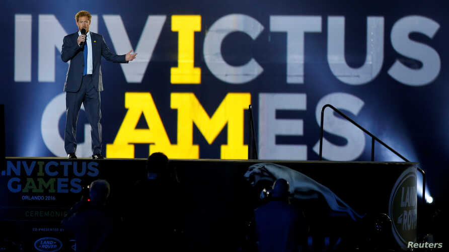 Britain's Prince Harry takes part in the opening ceremonies of the Invictus Games