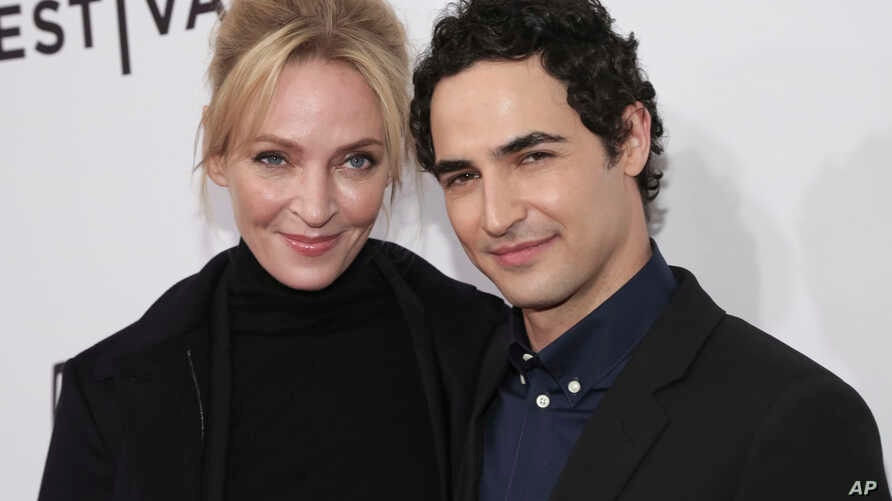 "Actress Uma Thurman, left, and Fashion Designer Zac Posen attend a screening of ""House of Z"" at the SVA Theatre during the 2017 Tribeca Film Festival, April 22, 2017, in New York."