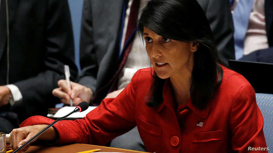 U.S. Ambassador to the United Nations Nikki Haley directs comments to the Russian delegation at the conclusion of a U.N. Security Council meeting to discuss the recent ballistic missile launch by North Korea at U.N. headquarters in New York, July 5,