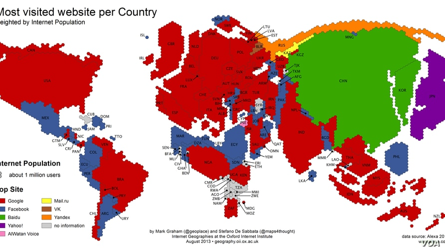 Google and Facebook are the world's biggest 'Internet empires.'