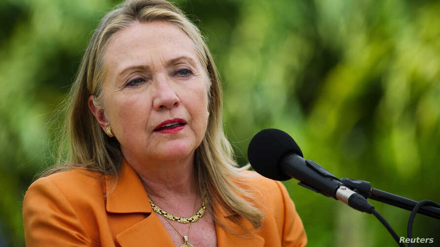 US Secretary of State Hillary Clinton speaks during a joint news conference with New Zealand's Prime Minister John Key (not pictured) in Rarotonga August 31, 2012.