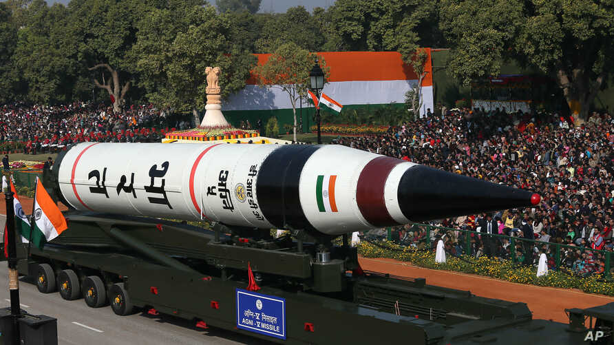 FILE - The long range ballistic Agni-V missile is displayed during Republic Day parade, in New Delhi, India , Jan. 26, 2013.