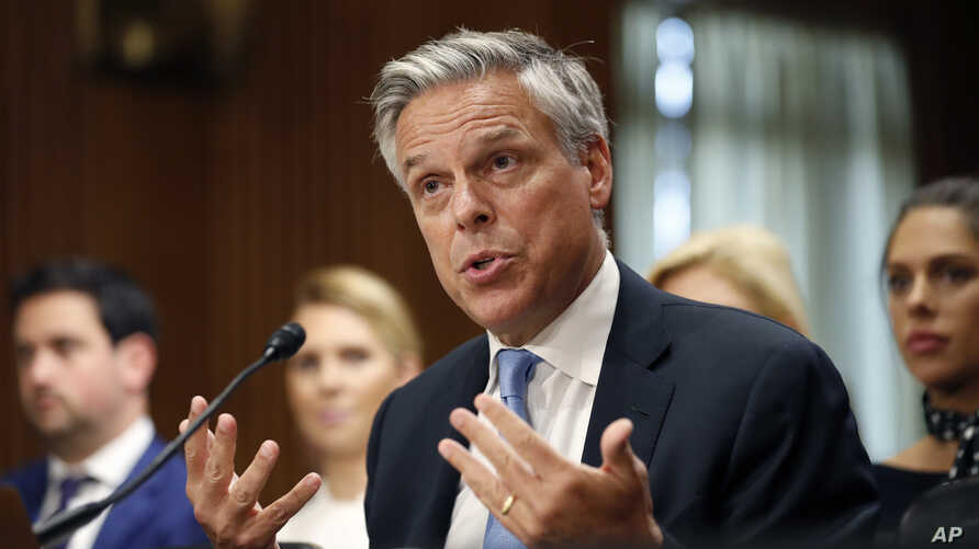 Former Utah Gov. Jon Huntsman testifies during a hearing of the Senate Foreign Relations Committee on his nomination to become the U.S. ambassador to Russia, Sept. 19, 2017 in Washington. The U.S. Senate confirmed his nomination.