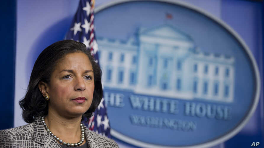 FILE - National Security Adviser Susan Rice listens to reporters questions during a briefing at the White House.