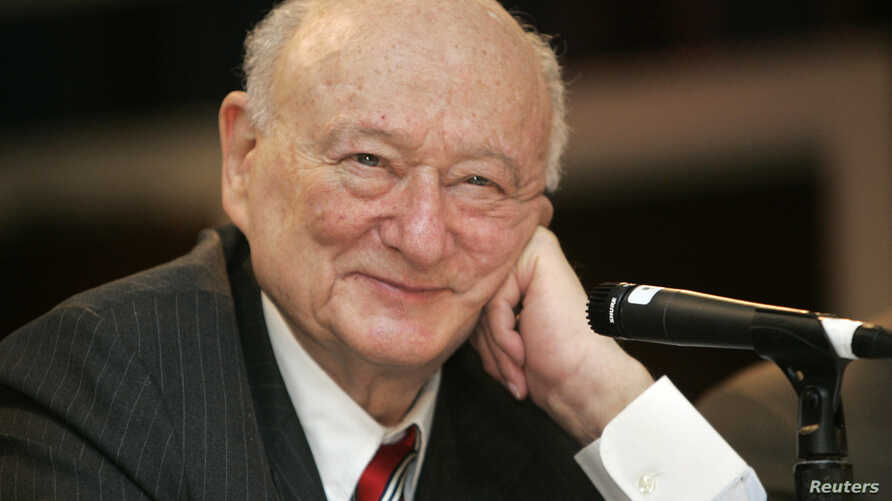 In this April 18, 2007 file photo, former New York Mayor Ed Koch listens during the 9th annual National Action Network convention in New York.