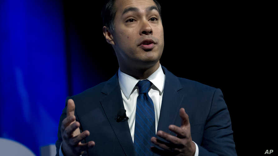 Former Housing and Urban Development Secretary and Democratic presidential candidate Julian Castro speaks during the We the People Membership Summit, featuring the 2020 Democratic presidential candidates, at the Warner Theater, in Washington, Apr. 1,