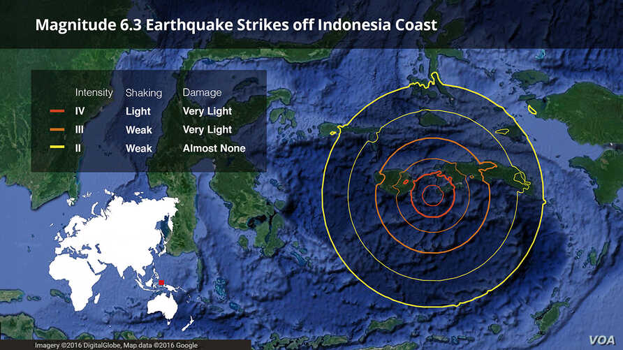 Site of earthquake that struck Indonesia on Tuesday.