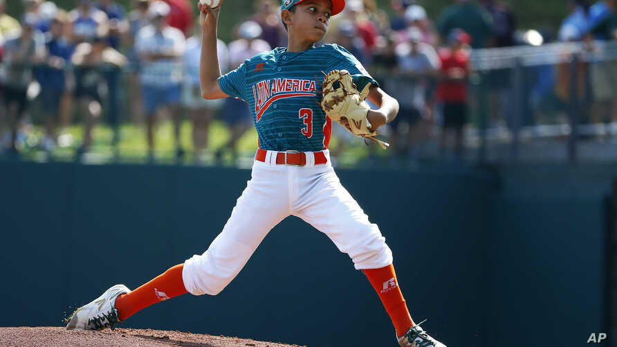 Maracaibo, Venezuela pitcher Juan Faria delivers in the second inning of an International pool play baseball game against White Rock, British Columbia at the Little League World Series tournament in South Williamsport, Pennsylvania, Aug. 20, 2017.