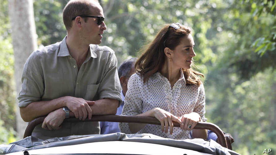 The Duke and Duchess of Cambridge (William and Catherine) on safari in Kaziranga National Park - part of their Tour of India and Bhutan, April 13, 2016.