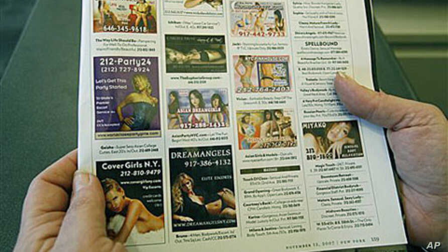 A copy of classified advertisements in back of Nov. 12 issue of New York magazine, when soon after the publishers agreed to stop accepting sex ads, is shown in New York City, November 2007 (file photo)