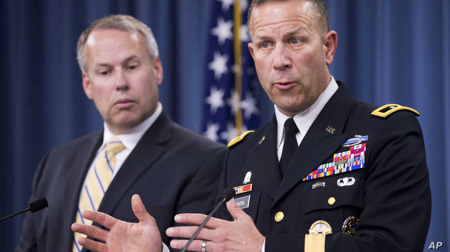 Sexual Assault Prevention and Response Office Director, Maj. Gen. Jeffrey Snow (R) with Nate Galbreath, Senior Executive Adviser for the Department of Defense Sexual Assault Prevention and Response Office (SAPRO), speaks to reporters at the Pentagon,