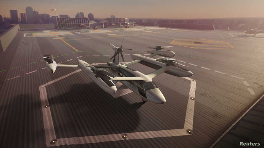 An artist's rendering of the Uber flying taxi concept, May 7, 2018.