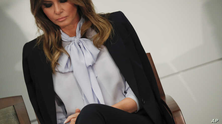 FILE - U.S. first lady Melania Trump attends the 6th Federal Partners in Bullying Prevention (FPBP) Summit at the Health and Human Services Department, in Rockville, Maryland, Aug. 20, 2018.