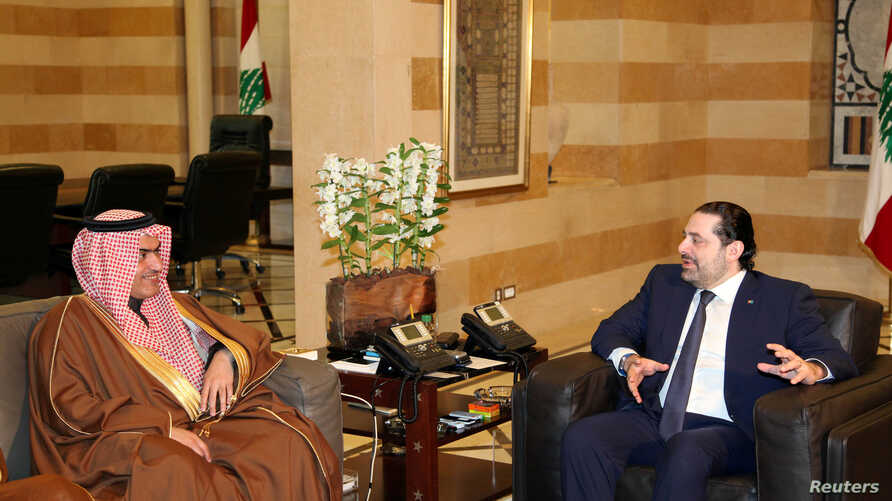 Lebanon's Prime Minister Saad al-Hariri, right, meets with Saudi Arabia's Arab Gulf Affairs Minister Thamer al-Sabhan in Beirut, Feb. 6, 2017.