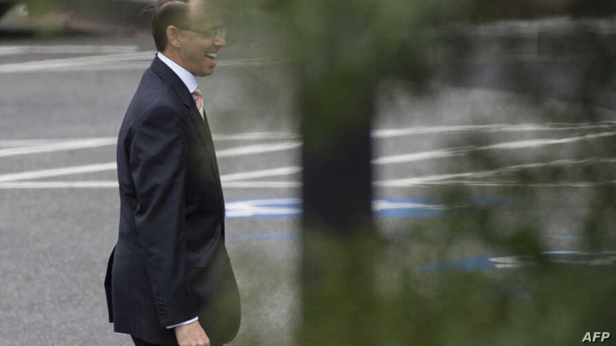 Deputy Attorney General Rod Rosenstein leaves the White House in Washington Sept. 27, 2018. The White House daily schedule for U.S. President Donald Trump for Sept. 27 did not include a meeting with Rosenstein.