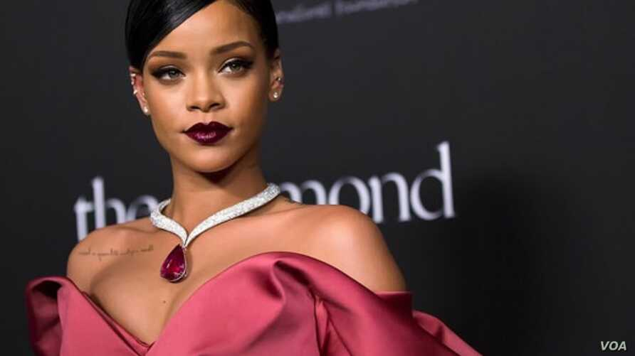 rihanna in pink gown