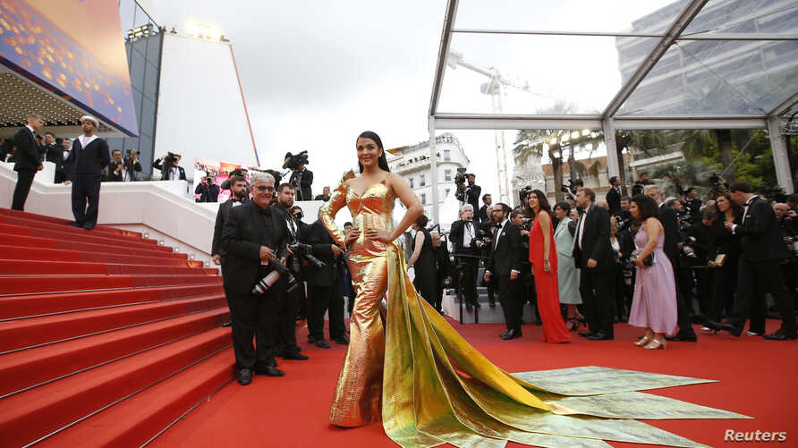Actress Aishwarya Rai Bachchan poses during Red Carpet arrivals in Cannes, France, May 19, 2019.