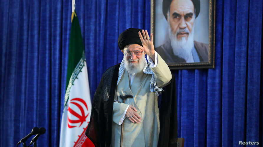 Iran's Supreme Leader Ayatollah Ali Khamenei waves his hand as he arrives to deliver a speech in Tehran, Iran June 4, 2019.