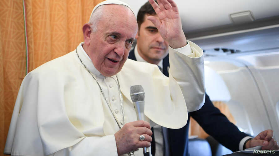 Pope Francis speaks to reporters during the flight from Skopje to Rome, at the end of his apostolic journey to Bulgaria and North Macedonia, May 7, 2019.