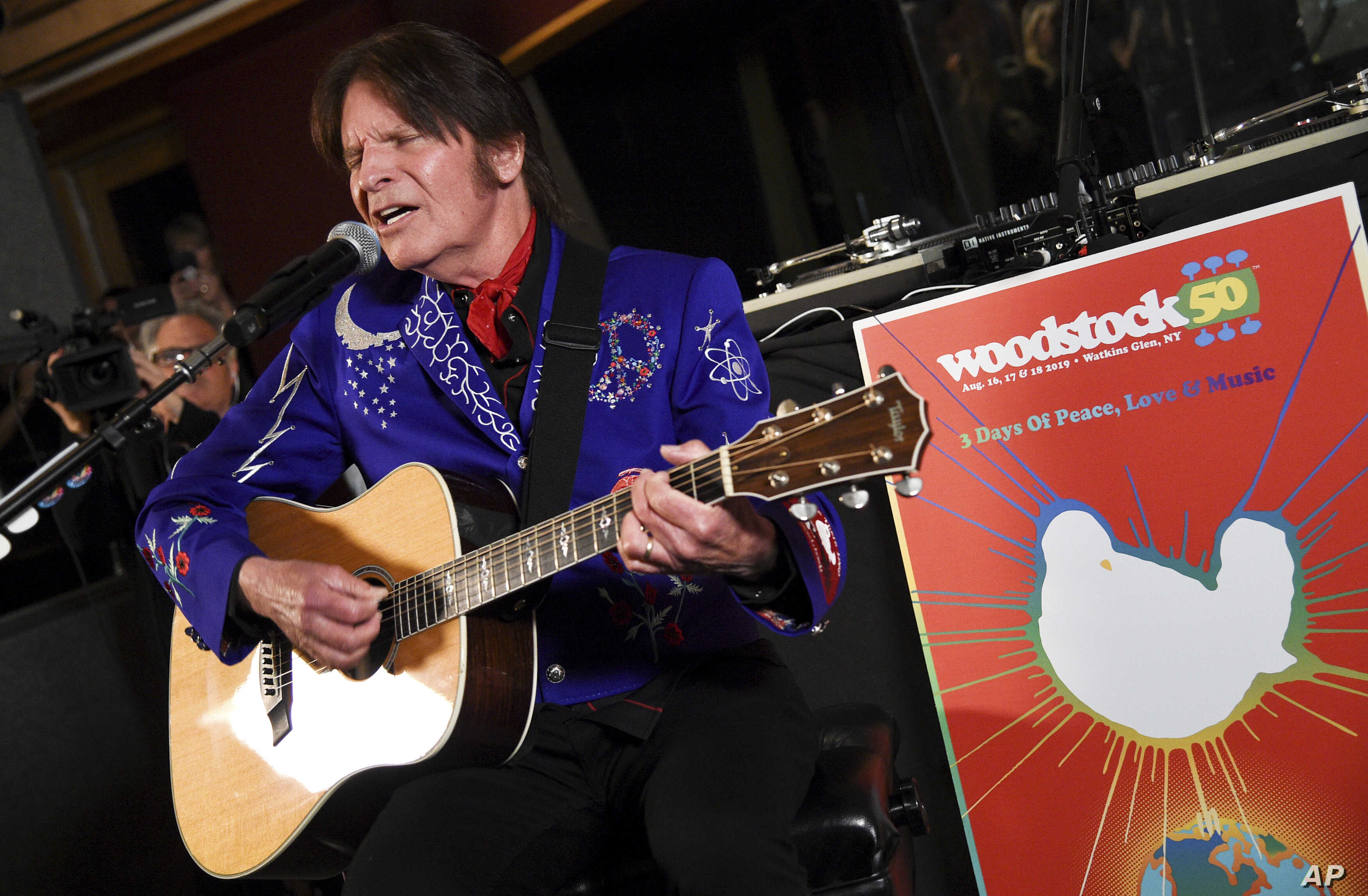 Musician John Fogerty performs at the Woodstock 50 lineup announcement at Electric Lady Studios, March 19, 2019, in New York.