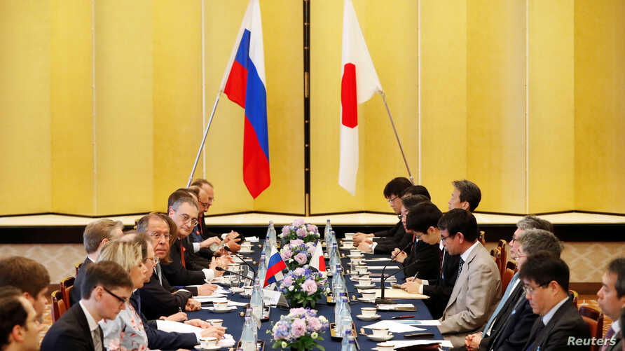 Russian Foreign Minister Sergei Lavrov speaks during a meeting with Japanese Foreign Minister Taro Kono at the Iikura Guest House in Tokyo, Japan, May 31, 2019.