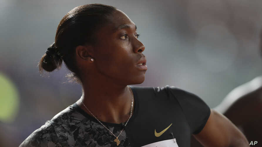South Africa's Caster Semenya competes in the women's 800-meter final during the Diamond League in Doha, Qatar, May 3, 2019.