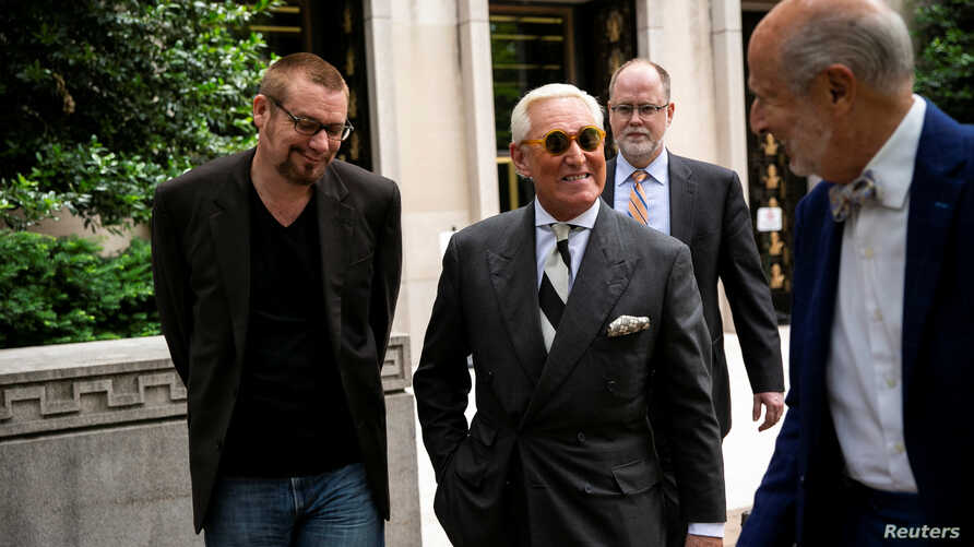 Roger Stone, longtime political ally of U.S. President Donald Trump, departs following a hearing to convince a judge to dismiss charges stemming from Special Counsel Robert Mueller's probe into Russian interference in the 2016 election, at U.S. Distr...
