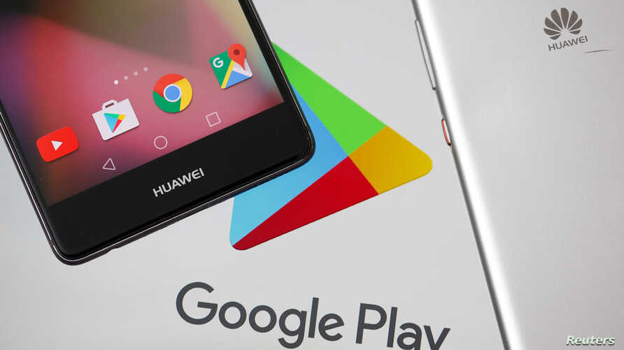 Huawei smartphones are seen in front of displayed Google Play logo in this illustration picture, May 20, 2019.