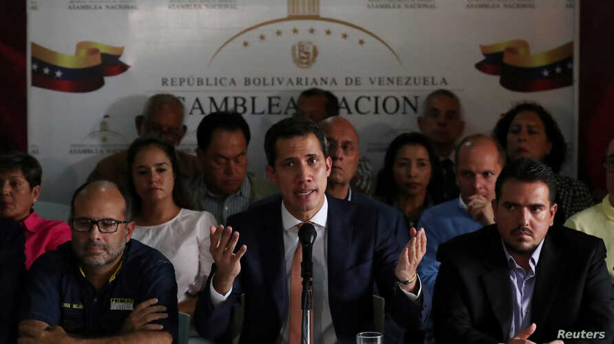 Venezuelan opposition leader Juan Guaido, who many nations have recognized as the country's rightful interim ruler, speaks during a news conference in Caracas, Venezuela May 9, 2019.