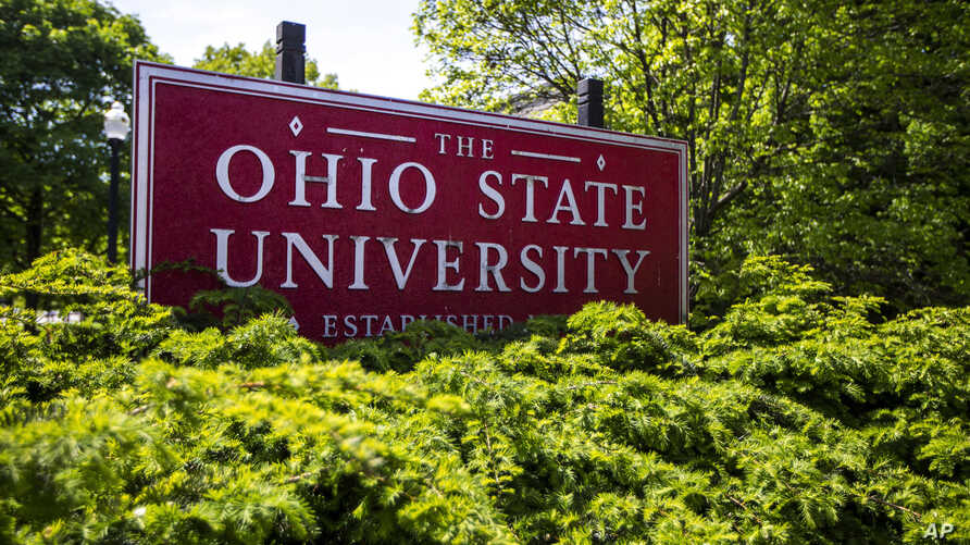 A sign for Ohio State University in Columbus, Ohio is seen in this May 8, 2019 photo.